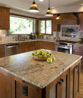 Parish Kitchen: 3cm Leathered Cobra Gold Granite